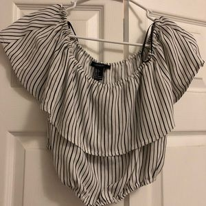 Black & white stripped crop top. Off the shoulder